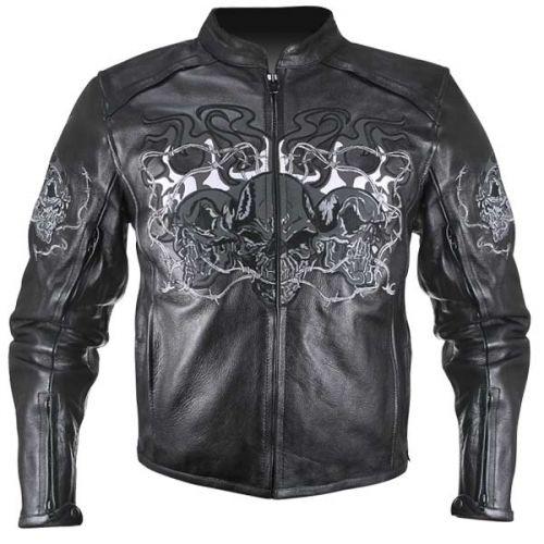 Reflective Evil Triple Flaming Skulls Cruiser Armored Motorcycle Jacket